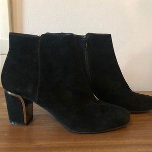 Minelli Suede Booties with Metallic Heels